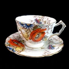 Aynsley Poppies Bone China England Teacup Cup Saucer Set Vintage Flowers Floral