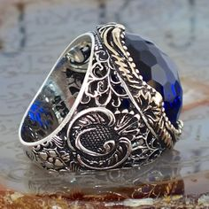 925 Sterling Silver Turkish Men's Ring Blue Sapphire Unique Ottoman Jewellery
