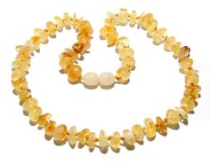 Genuine Baltic Amber Baby Child Teething Necklace Honey 36 cm Big Beads Authentic RBN39 by BLTAmber on Etsy
