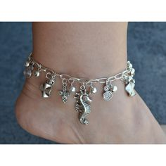silver charm anklet – Etsy UK ($23) ❤ liked on Polyvore featuring jewelry, silver anklets, silver jewellery, silver charms jewelry, vintage silver charms and charm anklet