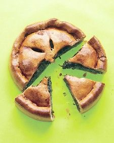 I made this tonight!  Swiss Chard Pie. (I added some beet greens too.) YUMMM