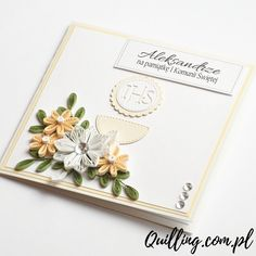 quilling, husking, DIY, handmade,greeting card, first communion, paperart, quilling.com.pl Quilling Cards, Paper Quilling, First Communion Cards, Christening, Christmas Cards, Card Making, Greeting Cards, Scrapbook, Diy
