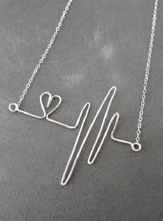 Heartbeat Necklace - Sterling Silver Wired hand wired heartbeat pendant doctor nurse love quirky wire handmade gifts for her Wire Wrapped Jewelry, Wire Jewelry, Jewelry Crafts, Sterling Silver Jewelry, Beaded Jewelry, Jewelery, Handmade Jewelry, Handmade Gifts, Silver Ring