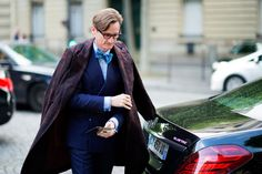 Street Style: Paris Couture: Hamish Bowles. Dapper looks. Bow tie. Double-breasted jacket. Navy suit. Dress like a 'Vogue' editor. Paris street style.