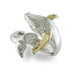 Yellow Gold and Sterling Silver Humpback Whale Ring - Rings - Jewelry Type