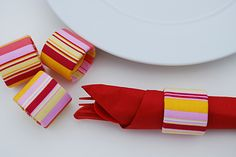How to make recycled fabric napkin rings craft ideas from cardboard Saran Wrap Tubes craft idea and free DIY tutorial instructions
