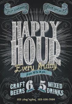 Happy Hour Chalkboard Indie Flyer