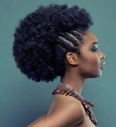 Curly Afro puff faux hawk with cornbraids #NaturalHair #NaturalHairstyles