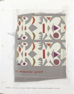 """""""Cutout"""" by Alexander Girard for Herman Miller. This fabric makes up the draperies in the Master Bedroom."""
