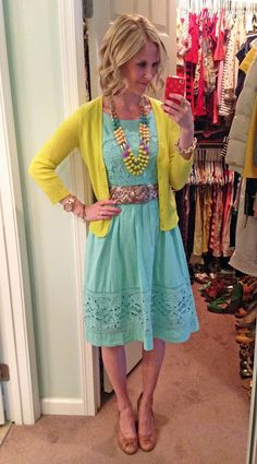 Aqua & yellow color combo (tones of cool aqua & warm yellow mixed, but both are tinted. Modest Outfits, Classy Outfits, Cute Outfits, Skirt Outfits, Dress Skirt, Work Fashion, Modest Fashion, Spring Summer Fashion, Spring Outfits
