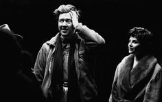 David Lynch and Sherilyn Fenn on the set of Twin Peaks