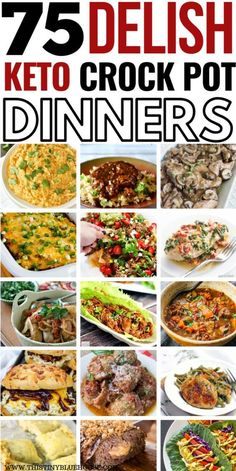 The easiest and BEST Crock Pot Keto dinners to make low carb dinners an absolute breeze. 75 Delicious, and easy Crock Pot Keto Dinners that'll make dieting easy! dinner low carb 75 Mouthwatering Crock Pot Keto Dinners - This Tiny Blue House Keto Crockpot Recipes, Diet Recipes, Healthy Recipes, Diet Meals, Smoothie Recipes, No Carb Slow Cooker Recipes, No Carb Dinner Recipes, Low Carb Shrimp Recipes, Breakfast