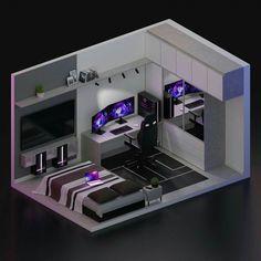 Gamer Bedroom, Bedroom Setup, Room Ideas Bedroom, Computer Gaming Room, Gaming Room Setup, Cool Gaming Setups, Best Gaming Setup, Gaming Rooms, Small Game Rooms