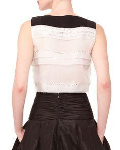 Carolina Herrera Sleeveless Tiered Bow Top & Long A-Line Silk Skirt