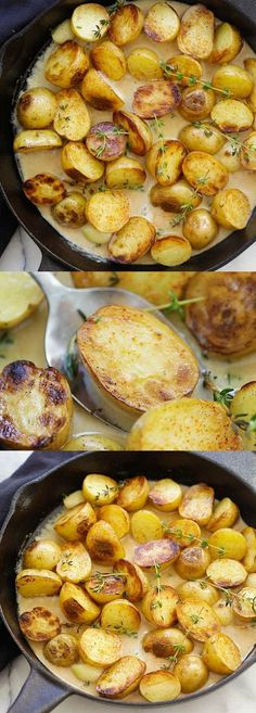 Creamy Garlic Thyme Potatoes – the best and easiest potatoes with garlic thyme in buttery and creamy sauce. A perfect side dish | http://rasamalaysia.com