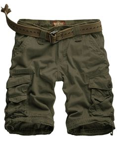 Match Mens Twill Cargo Shorts Quick-dry Summer Shorts S3612 (Label size 2XL/36 (US 34), Army green)  $40