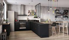 Stunning Dark Grey Kitchen Design Ideas Home Ideas New Kitchen Cabinets, Open Kitchen, Kitchen Living, Kitchen Decor, Room Kitchen, American Kitchen Design, Grey Kitchen Designs, Dark Grey Kitchen, Casa Cook