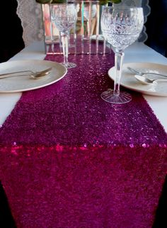 sparkly and gorgeous Sequin Table Runner - Fuchsia / Hot Pink (12 x 108)! Now that's a hot bridal shower <3