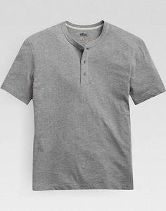 Pronto Blue Modern Fit Henley T-Shirt, Heathered Gray