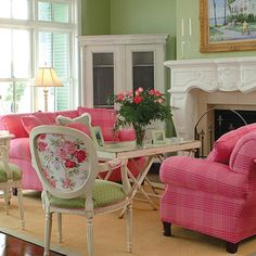 Lilly Pulitzer inspired living room.  Love it!