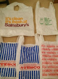 5 VINTAGE TESCO Sainsbury Marks and spencer PLASTIC CARRIER BAGS £12.50 (BIN)