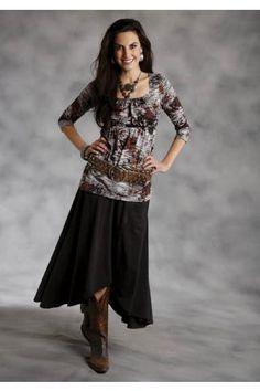 Women's Black Roper Cotton Rayon Jersey Studio West Artisan Chic Western Wear