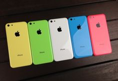 The sassy colours of the Apple iPhone 5C - check it out in yellow, green, white, blue and red/pink - see the best pay monthly deals as they are released at PhonesLimited.co.uk