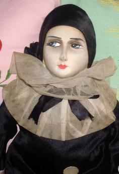rare silk face **French c1920 BOUDOIR DOLL* PIERROT