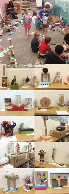 Trash - before you recycle it, let the kids reuse it! Cardboard + plastic + imagination = Art!