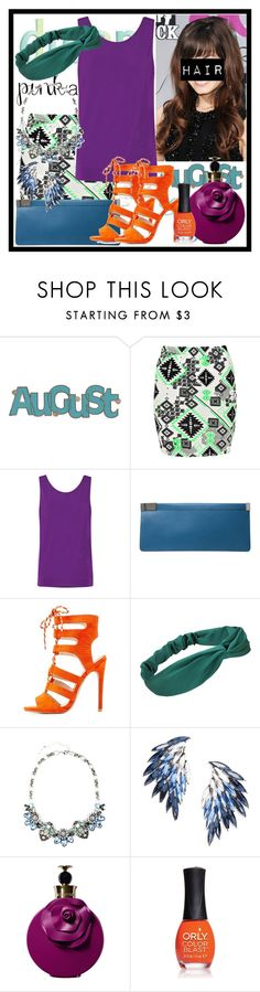 """""""Let""""s Wear Bright"""" by deedee-pekarik ❤ liked on Polyvore featuring Boohoo, Helmut Lang, Maison Margiela, Qupid, Juliet & Company, Valentino, ORLY, purple, Blue and orange"""