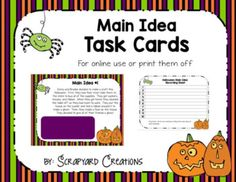 Digital Halloween Main Idea Task Cards (Distance Learning)   TpT Main Idea Activities, Recording Sheets, Halloween Activities, Task Cards, Teacher Newsletter, Teacher Pay Teachers, Teaching, Education, Digital