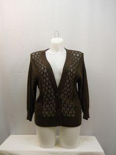 NorthCrest Brown 3/4 Sleeves Y-Neck 3 Button Down 100% Cotton Sweater Size L #NorthCrest #YNeck