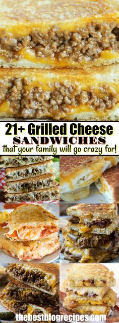 21 GRILLED CHEESE SANDWICHES that your family will go crazy for! Everybody loves a good grilled cheese sandwich. Buttery bread crisped to perfection and loaded with ooey, gooey cheese, makes a classic lunch that never gets old. Grilled Cheese Sloppy Joe, Grilled Cheeses, Grilled Cheese Sandwiches, Steak Sandwiches, Grilled Sandwich Ideas, Pannini Sandwiches, Grill Cheese Sandwich Recipes, Grilled Cheese Recipes Easy, Sandwiches For Dinner
