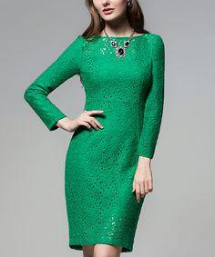 Green Lace-Overlay Sheath Dress #zulily #zulilyfinds
