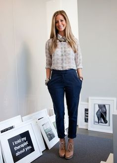shirt and pants by Kaelen, an Auden necklace, Giles & Brother bracelets, and Loeffler Randall shoes.    Read More