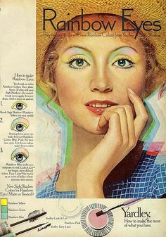 I had several of these little eyeshadows.  I stuck to pink and blue...Rainbow Eyes by Yardley
