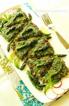 Turmeric & Saffron: Kookoo-ye Marchoobeh - Persian-Style Asparagus Frittata with Fresh Herbs, Walnuts and Barberries