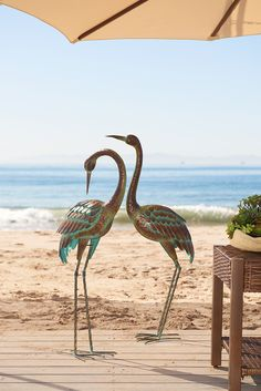 In Asia, the crane symbolizes longevity. But that should come as no surprise. After all, Pier 1's handcrafted Standing Crane makes a long-lasting impression with a charming teal patina. Its favorite place to roost? On a covered outdoor patio.