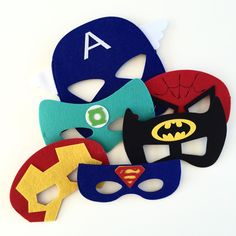 Make your boy a superhero with these felt masks. Captain America, Superman, Green Lantern, Batman, Iron Man and Spiderman.Suits toddlers to little boys.