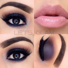 dark #purple #smokey eye, baby pink lips, winged liner | dramatic evening #makeup @lets_glam