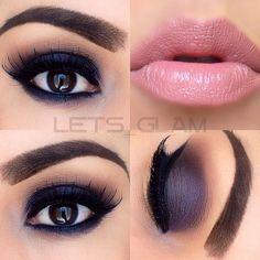 dark #purple #smokey eye, baby pink lips, winged liner | dramatic evening #makeup @lets_glam
