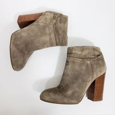 Tory Burch Shoes | Tory Burch Fulton Lan Grey 0mm Suede Bootie Sz 6 | Poshmark Suede Booties, Ankle Booties, Shoes Heels Boots, Heeled Boots, Fulton, Blossoms, Tory Burch, Gray Color, Stripes