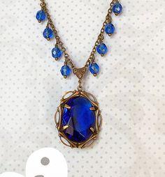 Sapphire Blue Rhinestone Beaded Necklace by DayStarJewelry on Etsy, $29.95