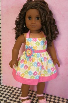 Easter Sale: 2 Dollars Off -  Pastel Flowers Dress for American Girl or Bitty Baby