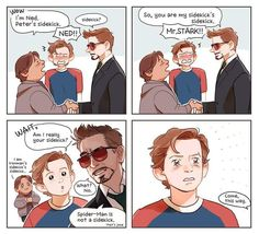 Starker ❤<<< Starker is fucking disgusting<<agreed it's spiderson and irondad for life Funny Marvel Memes, Dc Memes, Marvel Jokes, Marvel Heroes, Avengers Comics, Avengers Memes, Stony Avengers, Iron Man Capitan America, Captain America