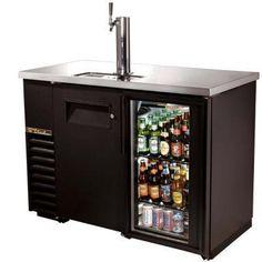 True Draft Beer Cooler, Back Bar/Direct Draw Beer Dispenser, Glass Door Beverage Refrigerator, Man Cave Refrigerator Ideas, Keg Fridge, Mini Fridge, Beer Cooler, Beer Keg, Beer Brewing, Root Beer, Stainless Steel Counters