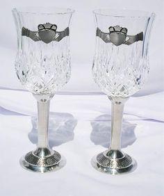 Claddagh Crystal Wine Glasses
