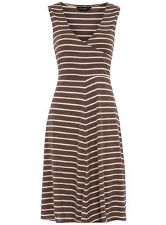 Mocha/ivory wrap jersey dress | Dorothy Perkins