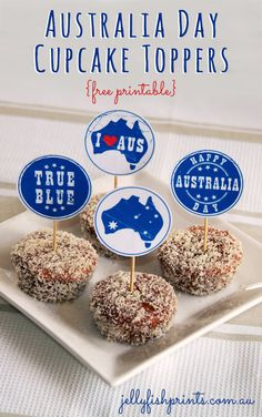 Australia Day cupcake toppers - free printables to decorate your BBQ or party celebration thise year. hmmm i wonder if we should make some free party label printables to match as well... is anyone interested? let us know.