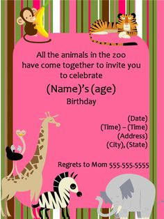 Zoo animal birthday party invitation template httpwww birthday party invitation templates printable stopboris Choice Image